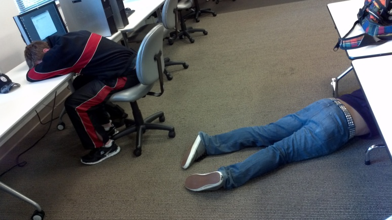 This is how I found my friends one morning after a long night of rendering in the lab.